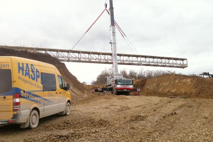 Einbau einer Bandbrücke im Steinbruch MSW in Mönsheim